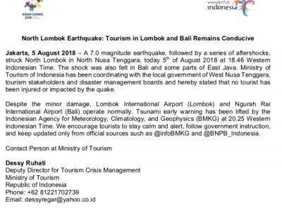 NORTH LOMBOK EARTHQUAKE: TOURISM IN LOMBOK AND BALI REMAINS CONDUCIVE